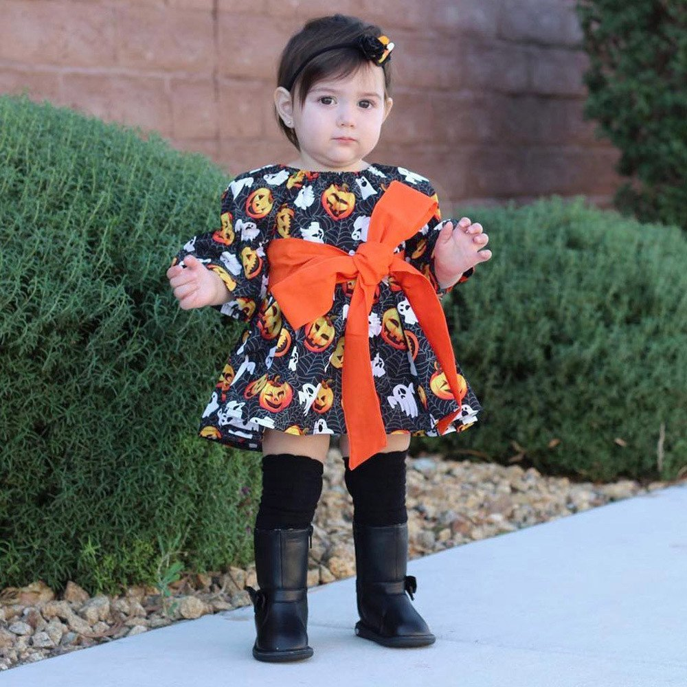 Vestidos niña, ❤ Modaworld Bebés Infantiles Bebés Calabaza Estampado Fantasma Vestidos Trajes de Disfraces de Halloween Falda niña Vestido de Princesa de ...