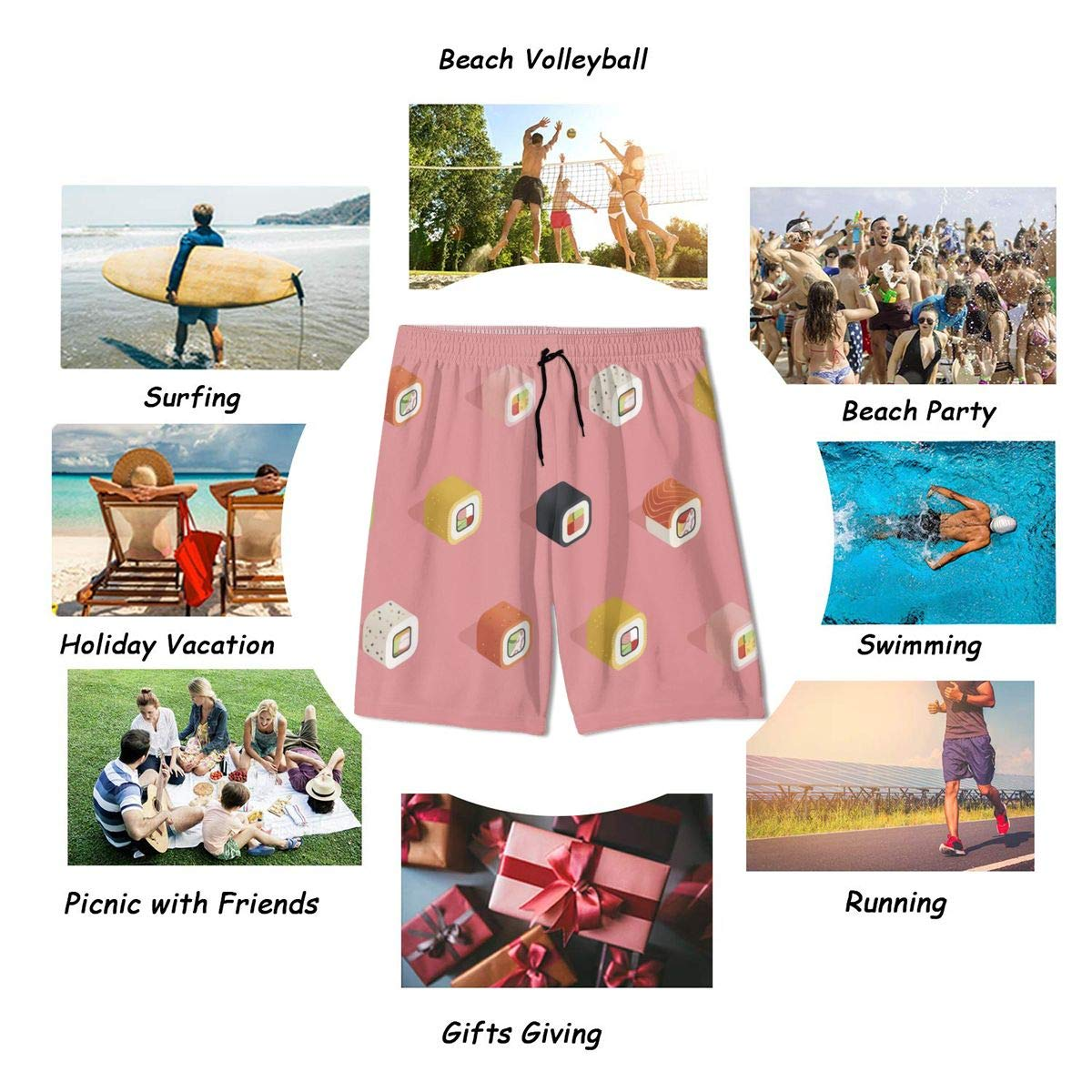 Mens Swim Trunks Pink Sushi Printed Beach Board Shorts with Pockets Cool Novelty Bathing Suits for Teen Boys