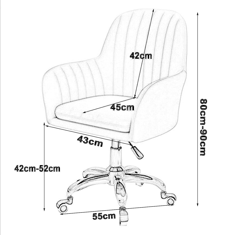 LIYANJJ Sammetsanpassad svängbar kontorsstol, skrivbord accentstol med kromfinish ben och kastruller toalettstol hem kontor rullstol nr3