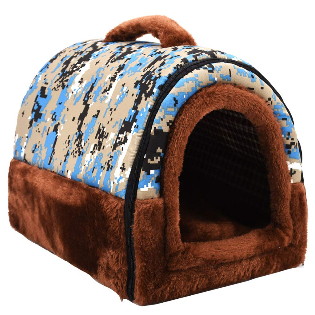 B 554743Pet house Cat nest kennel Small dog Closed type Washable pet nest Pet mat Pet bed Warm cosy Two usage Four seasons available (color   A, Size   51  39  35)