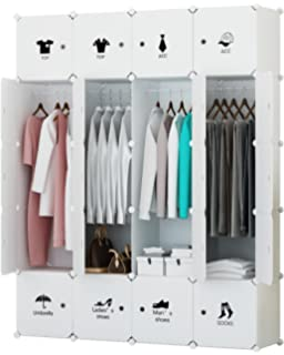 Great KOUSI Portable Closet Clothes Wardrobe Bedroom Armoire Storage Organizer  With Doors, 20 Cube White,