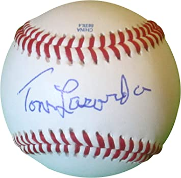 Fanatics Authentic Certified Tommy Lasorda Los Angeles Dodgers Autographed Baseball withHOF 97 Inscription and Mahogany Baseball Display Case