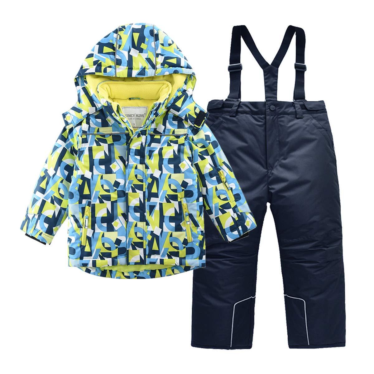 Hiheart Boys Snowsuit Winter Ski Jacket and Pants Set 8-9 Years Blue