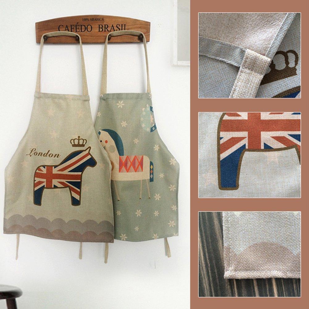 A.B Crew Cute Flag Kitchen Apron Fashion Home Cook Apron Vintage Linen Cake Apron for Adults France Paris