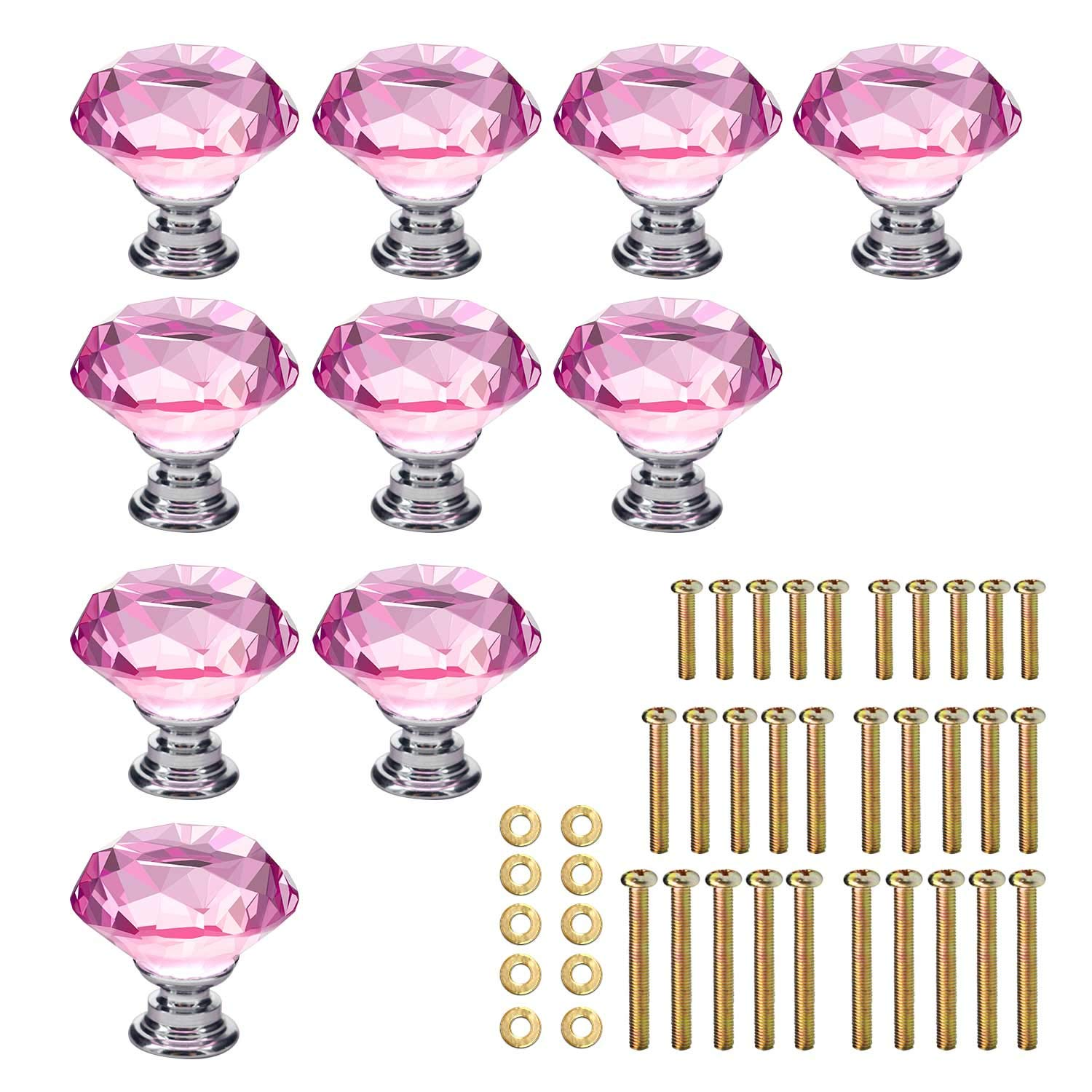KEIVA 10pcs Diamond Shape Crystal Glass 30mm Drawer Knob Pink Pull Handle Usd for Cabinet Drawer Cupboard Chest Dresser with 3 kinds of Screws (30mm, Pink)