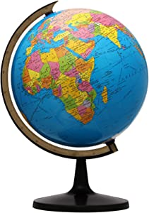 KingSo World Globe, 13'' Globe of Perfect Spinning Globe for Kids, Geography Students, Teachers, Easy Rotating Swivel