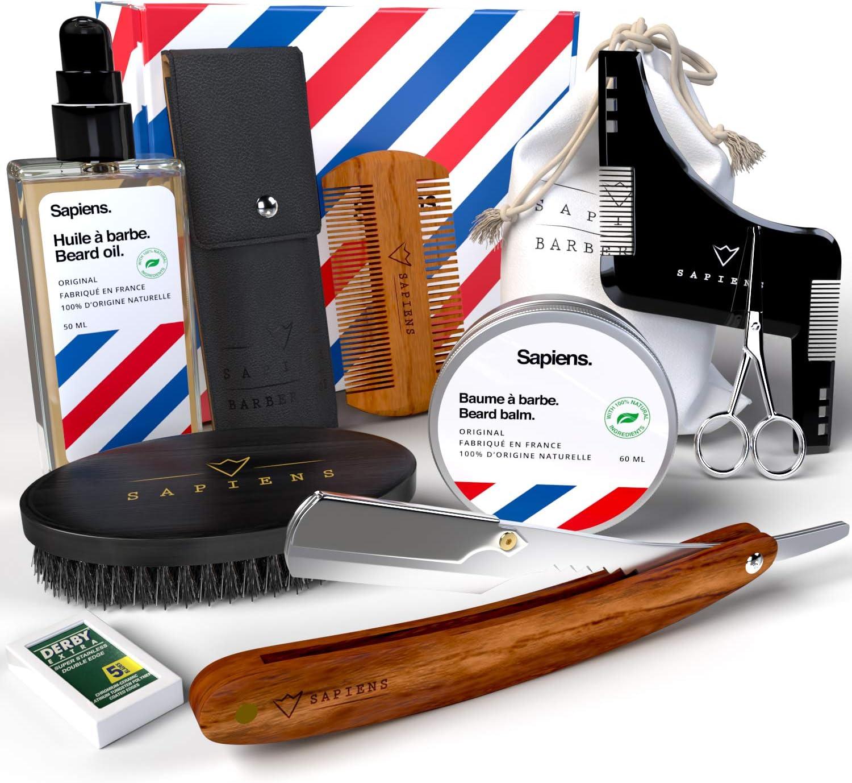 Kit Cuidado y Afeitado Barba by Sapiens - Set completo para hombre: Aceite Barba + Bálsamo Barba 100% Origen Natural, Hecho en Francia + Navaja de barbero + Accesorios de barba • Caja de regalo