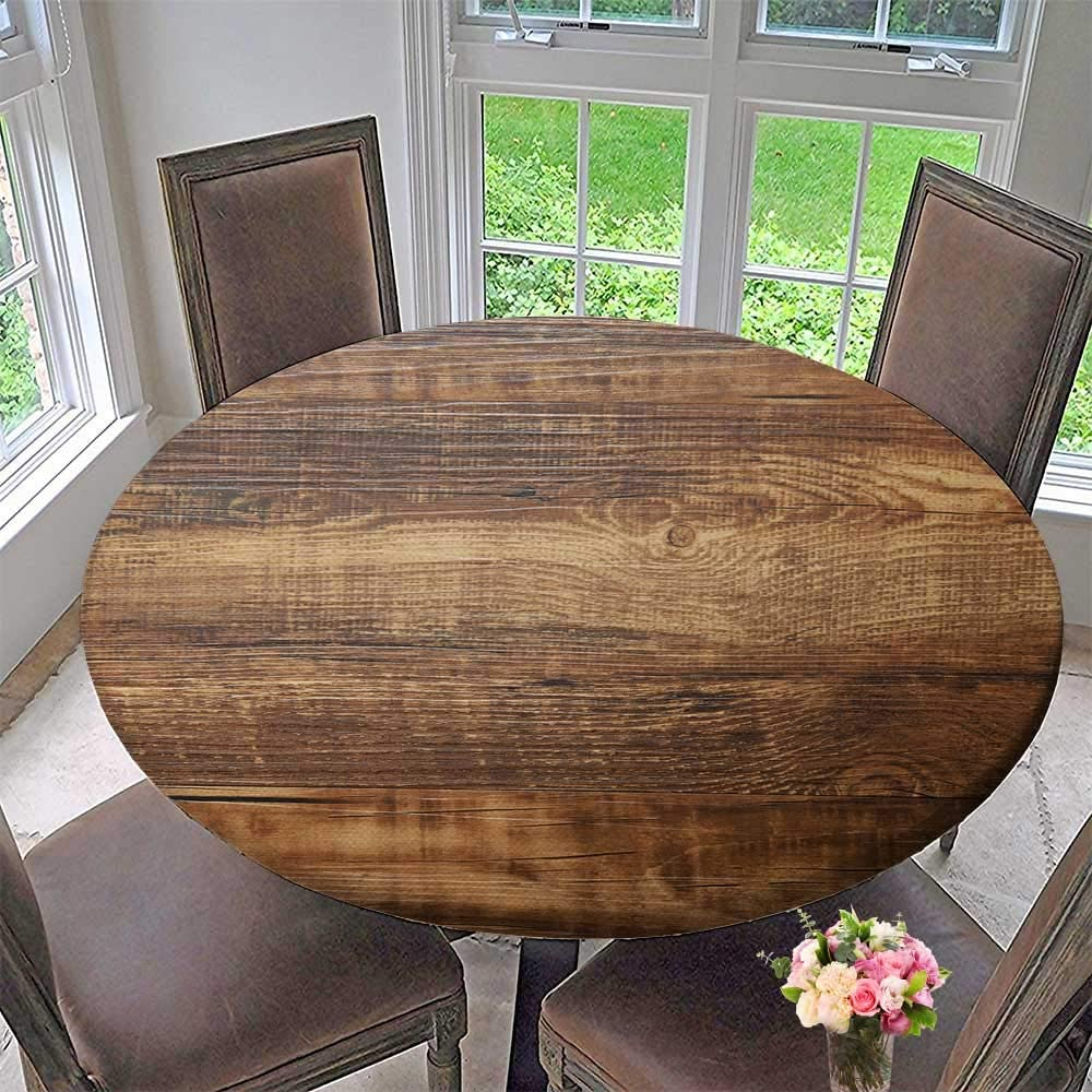 PINAFORE HOME The Round Table Cloth Wood Texture for Birthday Party, Graduation Party 35.5