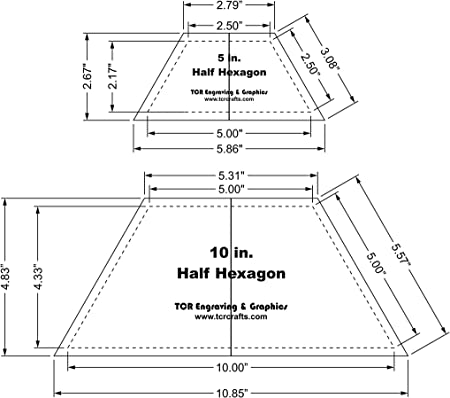 1//4 Thick Acrylic Hexagon All Scrapped Out 5 Hexie Charm Quilting Template Ruler