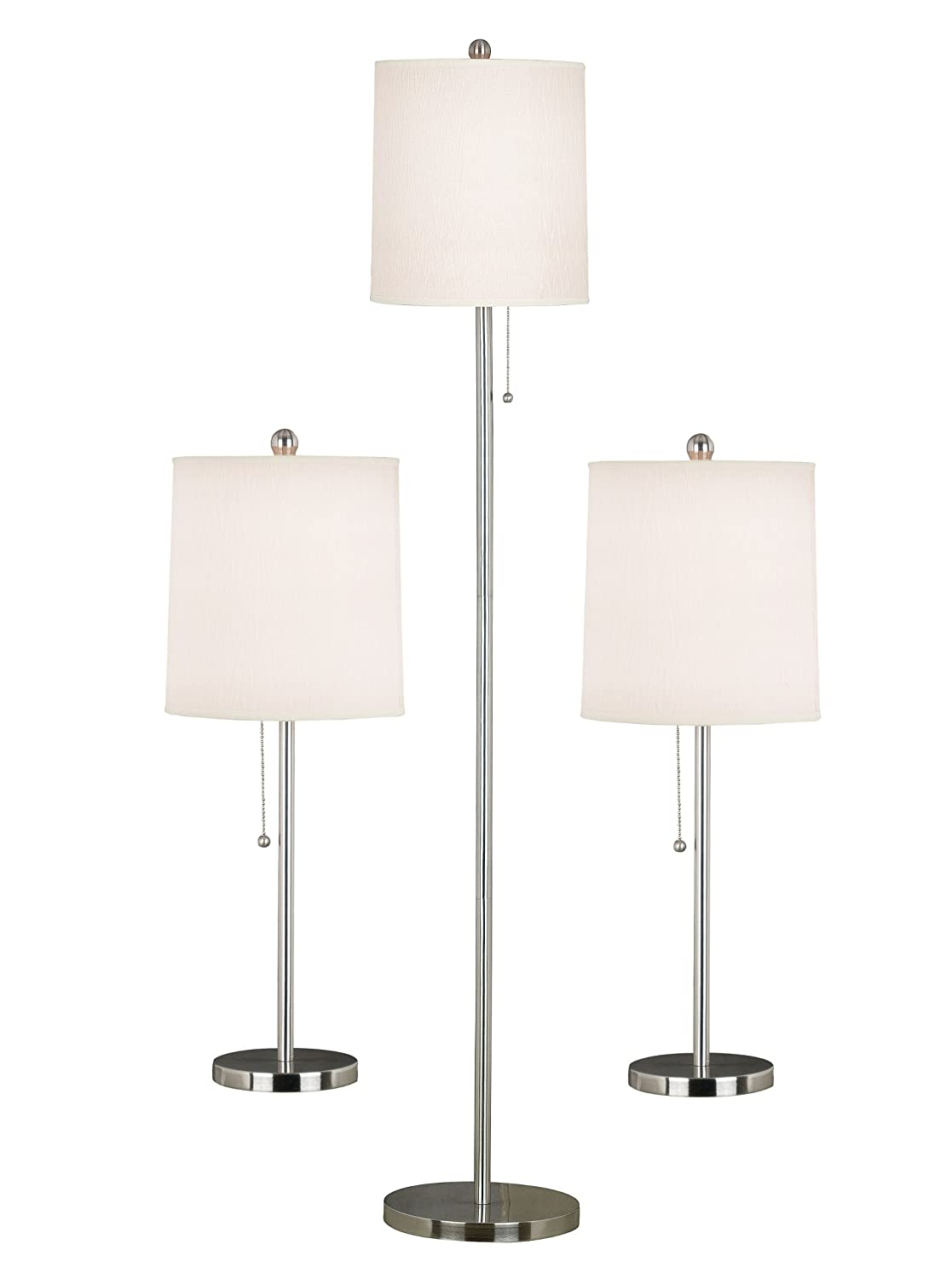 Amazon lamp shades tools home improvement - Kenroy Home 21016bs Selma Table And Floor Lamp 3 Pack Brushed Steel Household Lamp Sets Amazon Com