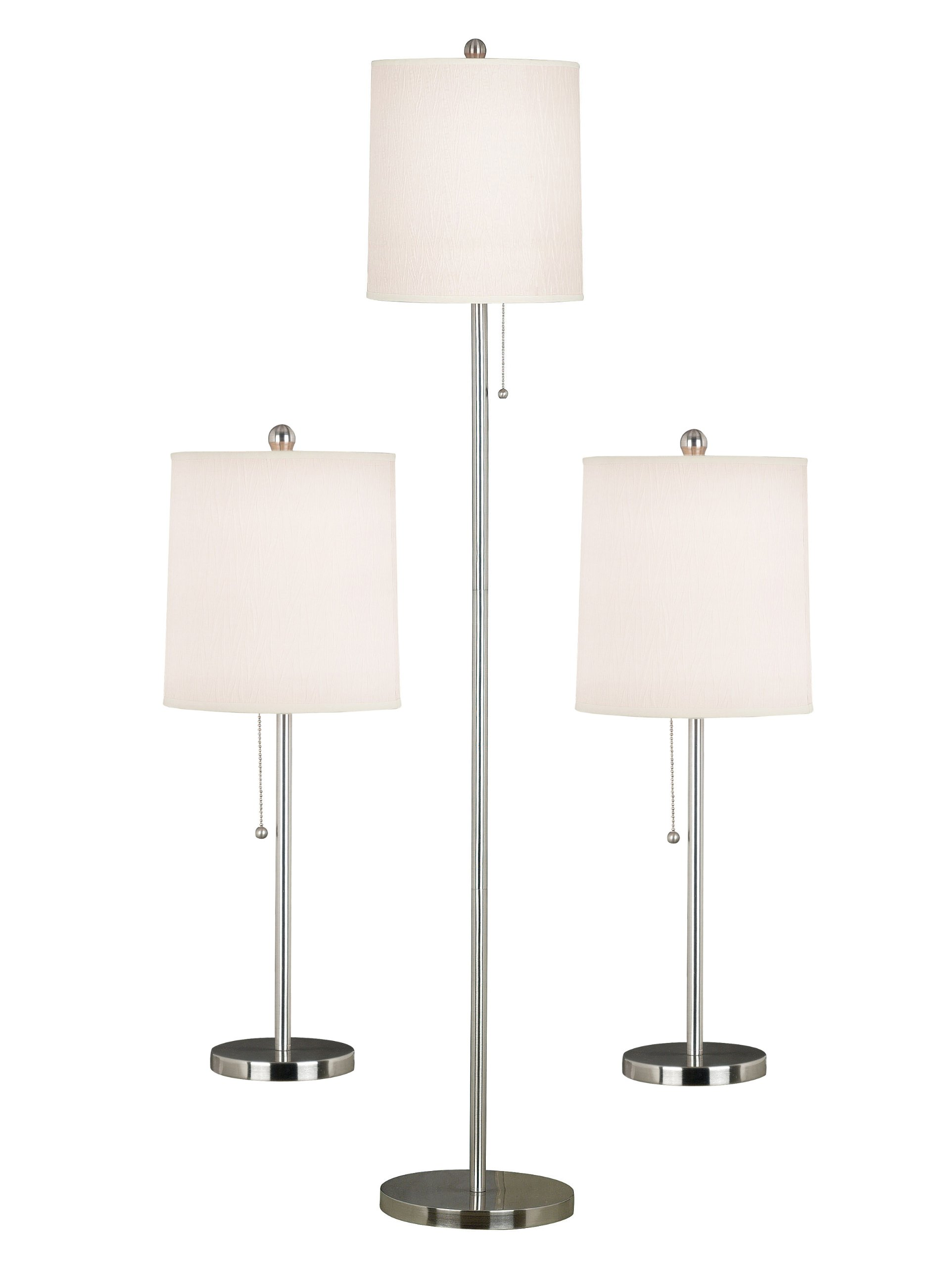 Kenroy Home 21016BS Selma Table and Floor Lamp, 3 Pack, Brushed Steel