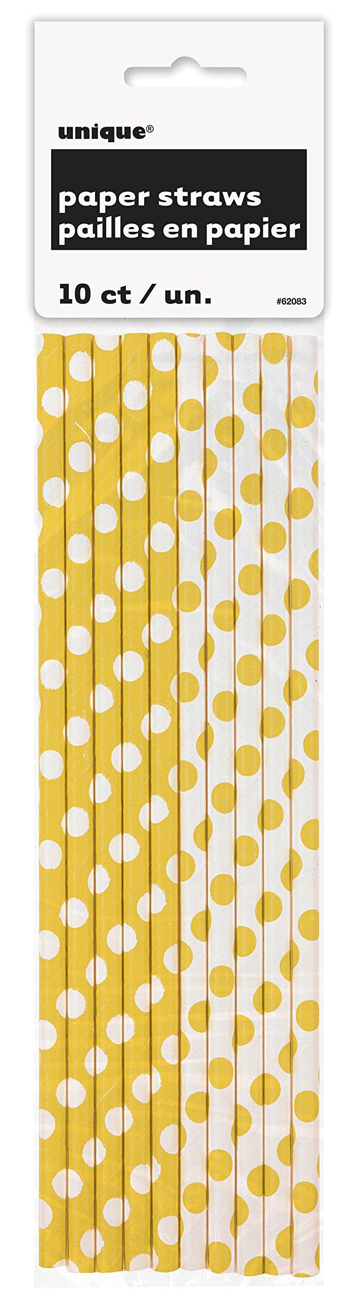 Yellow Polka Dot Paper Straws, 10ct