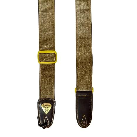 Correa ajustable de piel y algodón para guitarra acústica, eléctrica y bajo, 1,