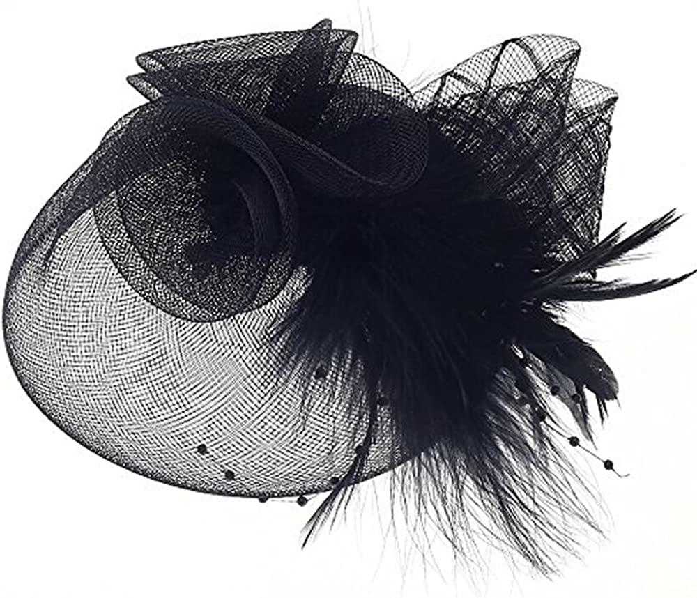 Navifoce Fashion Women's Flower Feather Mesh Net Fascinator Beaded Cocktail Headwear with Hair Clip and Brooch