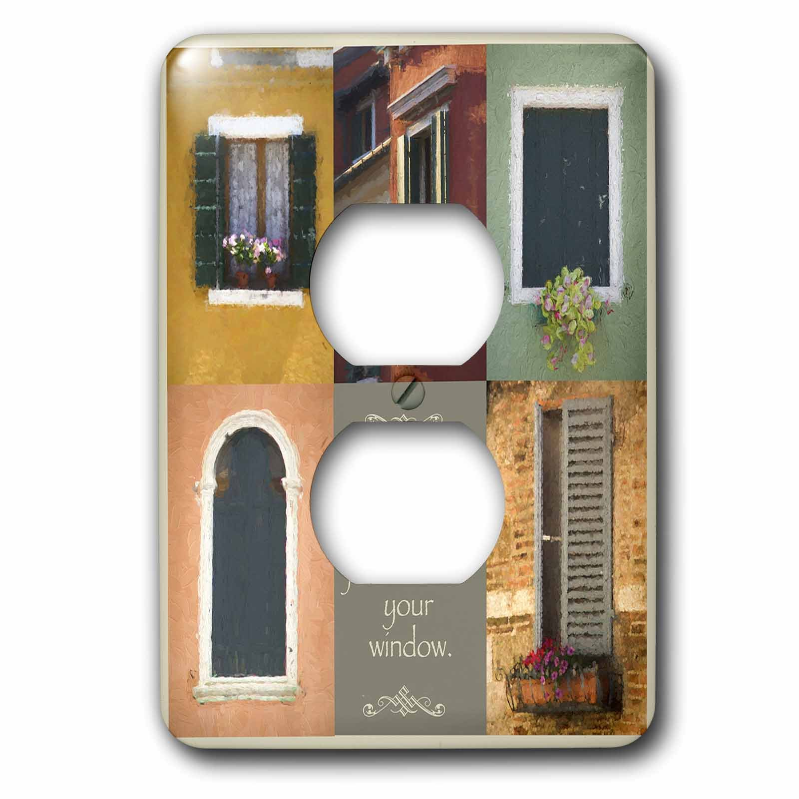 3dRose Susan Kjellsen Photography - Windows - Antique windows - Light Switch Covers - 2 plug outlet cover (lsp_280229_6)