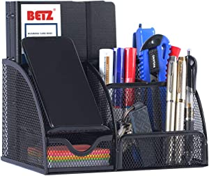 Metal Mesh Office Desk Organizer Caddy with Drawer Used As Pen Holder,Pencil Holder Or Paper Organizer to Collect Desk accessories,Black Desktop Organizer