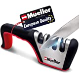 Mueller Original Premium Knife Sharpener, Heavy Duty 4-Stage Diamond Really Works for Ceramic and Steel Knives, Scissors. Eas