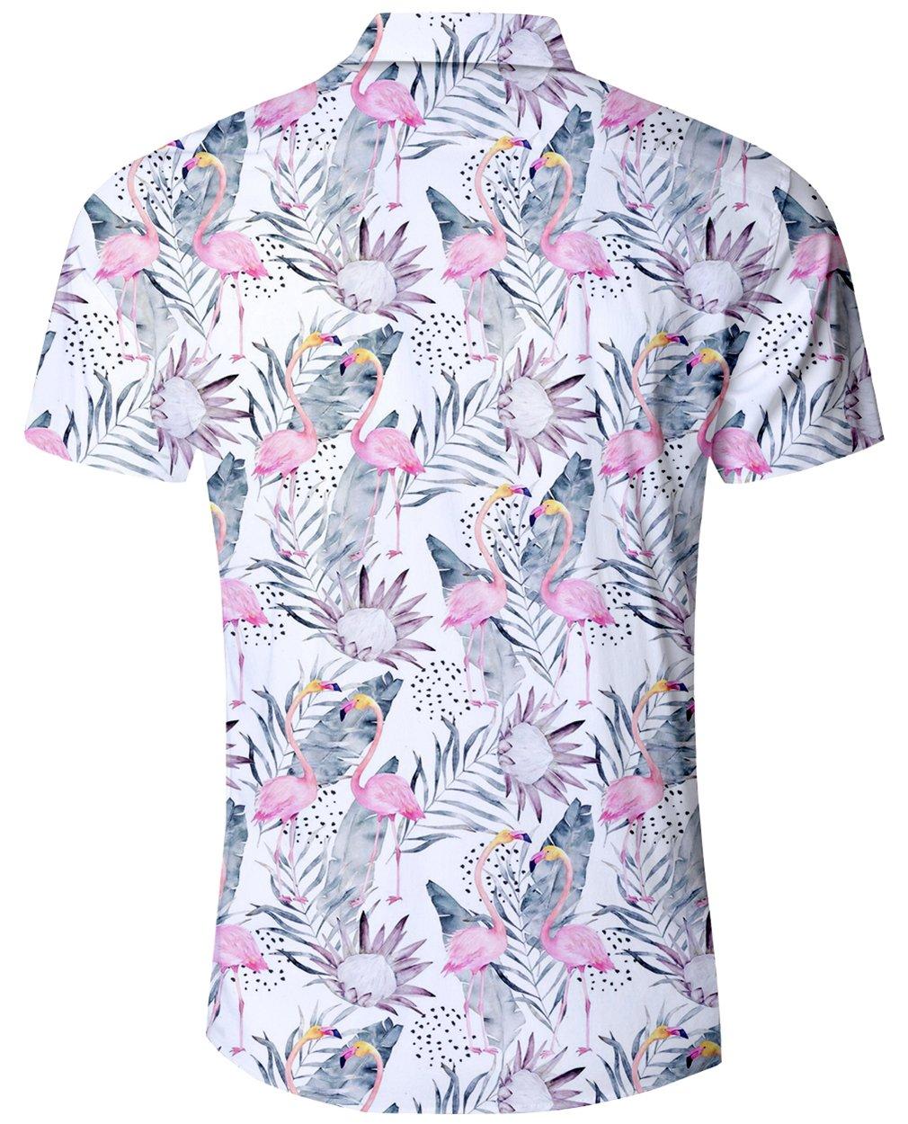 Goodstoworld Hawaiian Shirt Casual Short Sleeve Hawaiian Aloha Floral Flamingos Shirt