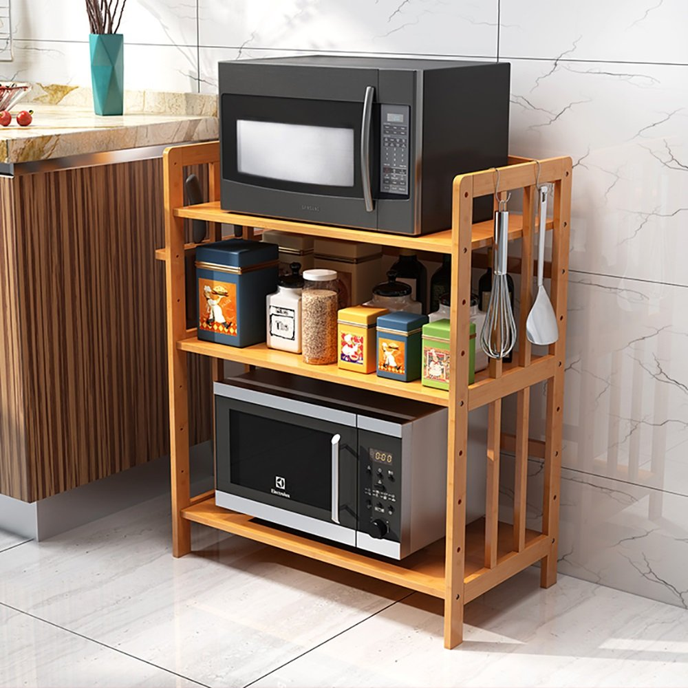 Organisateur de cuisine Support de rangement Byx Support de rangement en bois massif pour four /à micro-ondes et support de cuisine en bois massif taille : 60 cm outer diameter