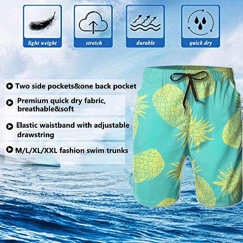 YongColer Men Swim Trunks Quick-Dry Beach Shorts Adjustable Drawstring Pants