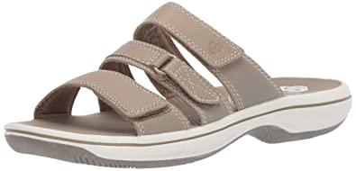 9d96240a48569 CLARKS Women's Brinkley Coast Slide Sandal Taupe Synthetic 100 M US