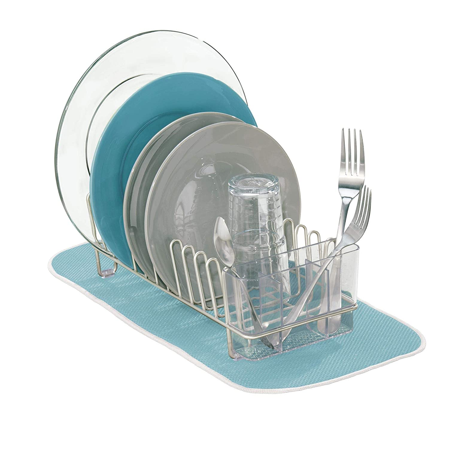 mDesign Compact Modern Metal Dish Drying Rack and Microfiber Mat Set for Kitchen Countertop, Sink - Drain and Dry Wine Glasses, Bowls and Dishes - Removable Cutlery Tray - Set of 2 - Satin/Aqua Blue