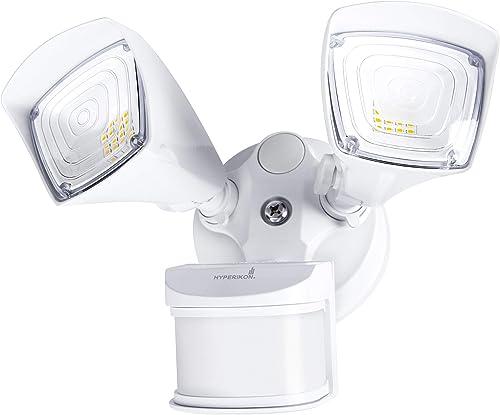 Hyperikon Outdoor Security Light, 25W LED Flood Light Fixture Wide Range Motion Sensor, IP65 Waterproof, 2 Head, White