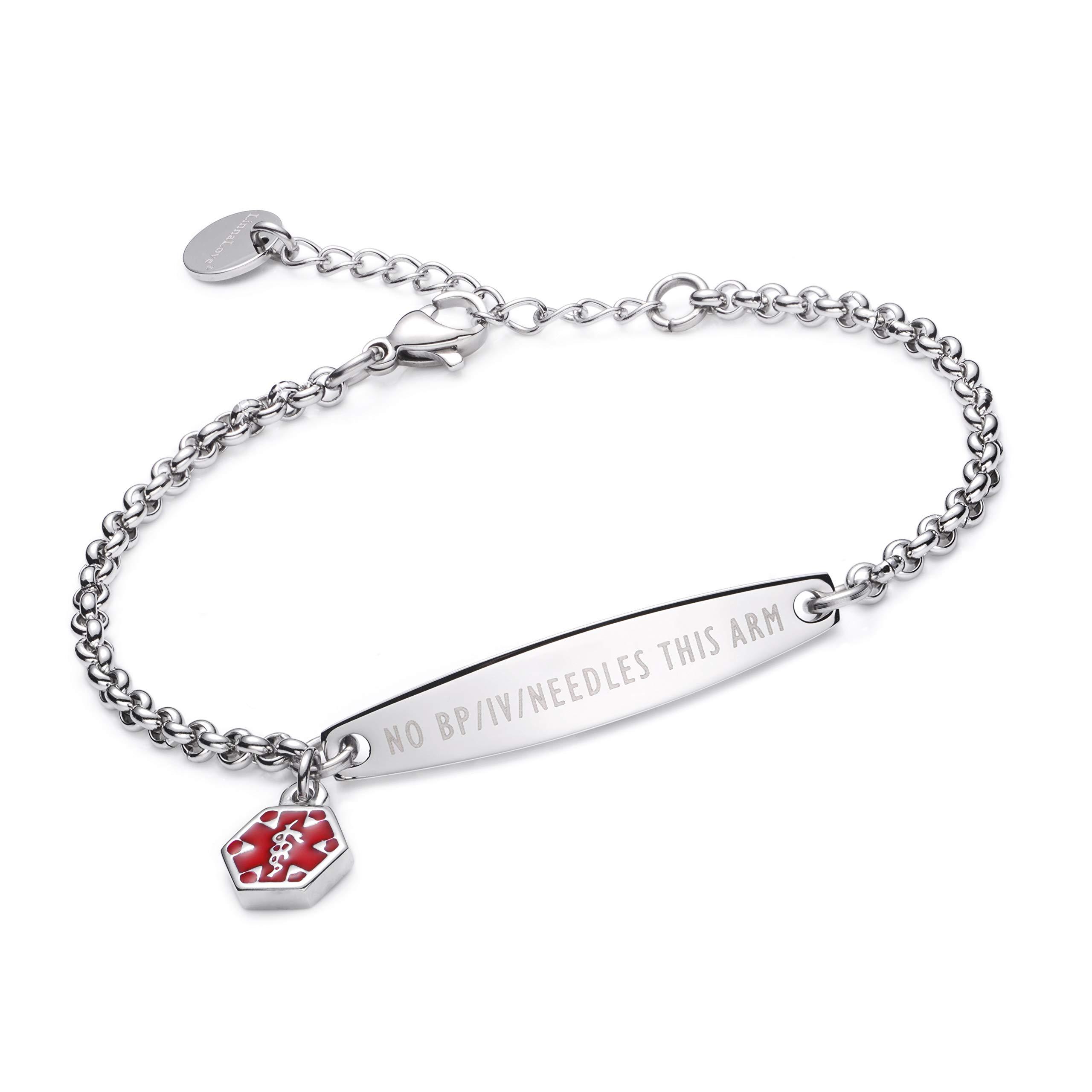 linnalove-Pre-Engraved Simple Rolo Chain Medical Alert Bracelet for Women & Girl-NO BP/IV/Needles This ARM