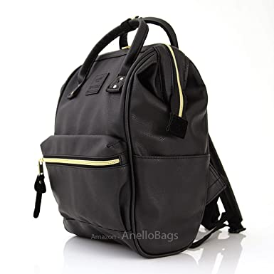 Japan Anello Backpack Unisex BLACK MINI SMALL PU LEATHER Rucksack School  Bag Campus 916088a02122f