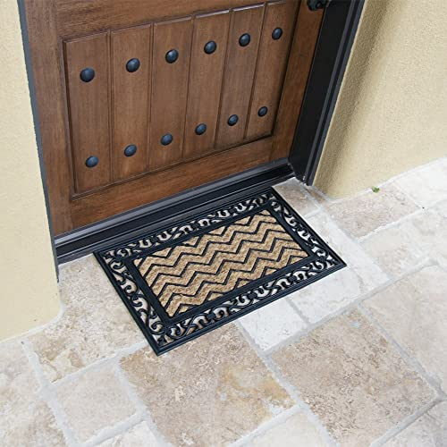 Rubber-Cal Waves Outdoor Coco Decorative Rubber Doormat, 18 x 30-Inch