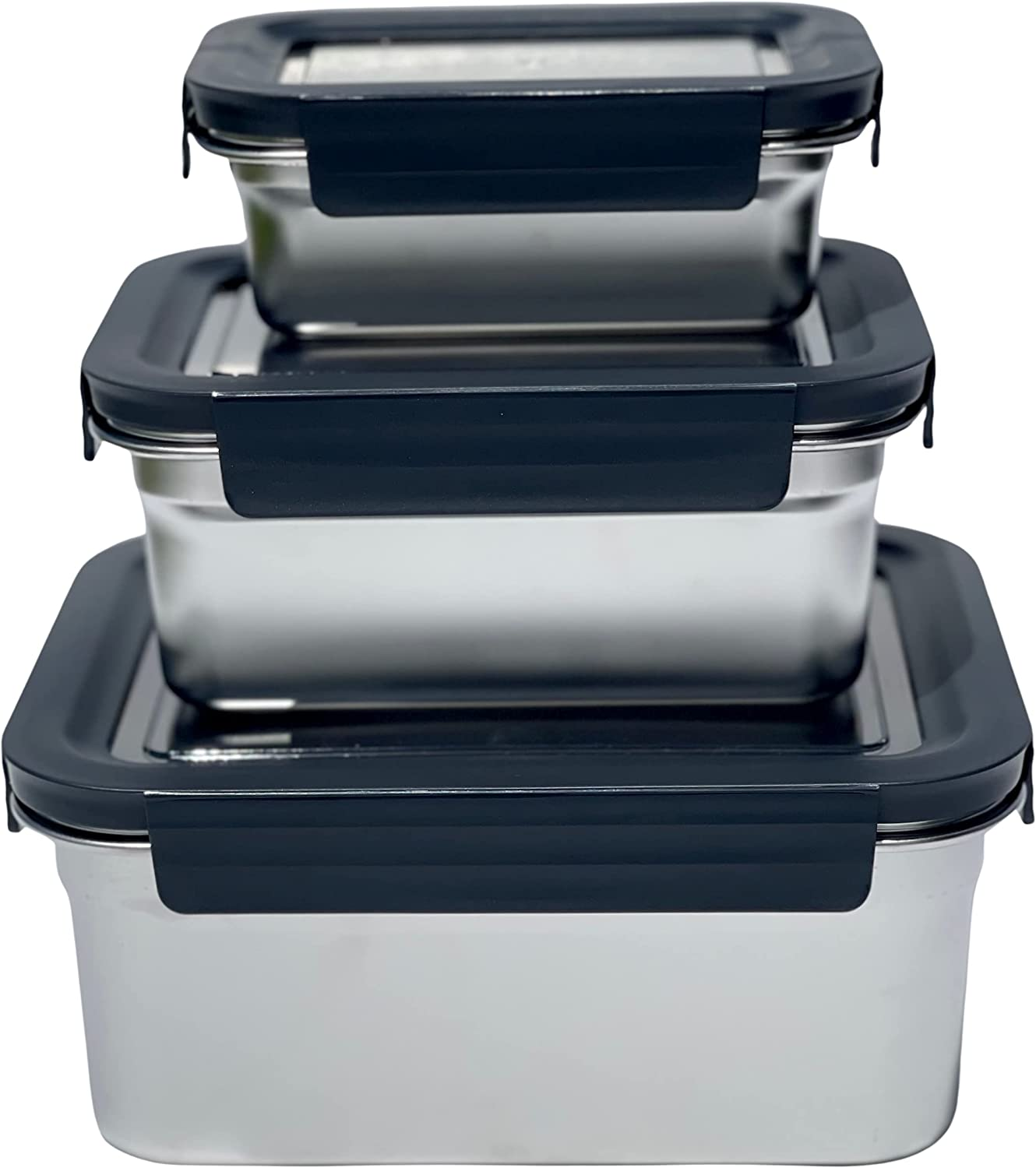 Stainless Steel Containers Black Set of 3 sizes - Premium Storage for Food Grains Pantry Freezer Smart Boxes for Cooler Barbecue Bento Leftovers Takeout Clear Leakproof Lids ALL BPA FREE By Jacebox