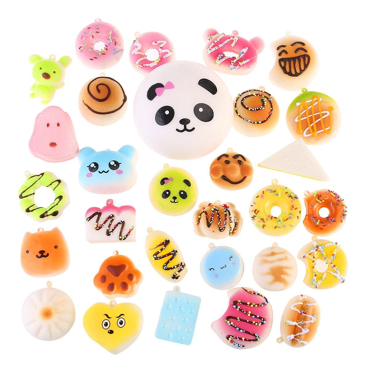 NUOLUX 30Pcs Jumbo Medium Mini Random Squishy Soft Panda/Bread/Ca ke/Buns Phone Straps