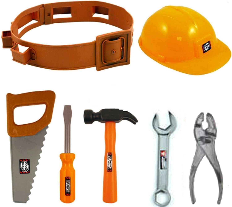 MantraRaj Kids Plastic Construction Tools Set Helmet Builder Hat Pretend Play Toy Xmas With Tool Belt and Tools