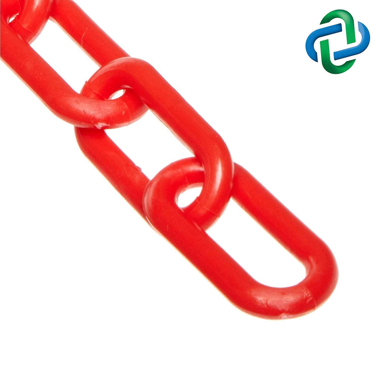 2-Inch Link Diameter 25-Foot Length Chain Heavy Duty Plastic Barrier Chain Mr 51005-25 Red