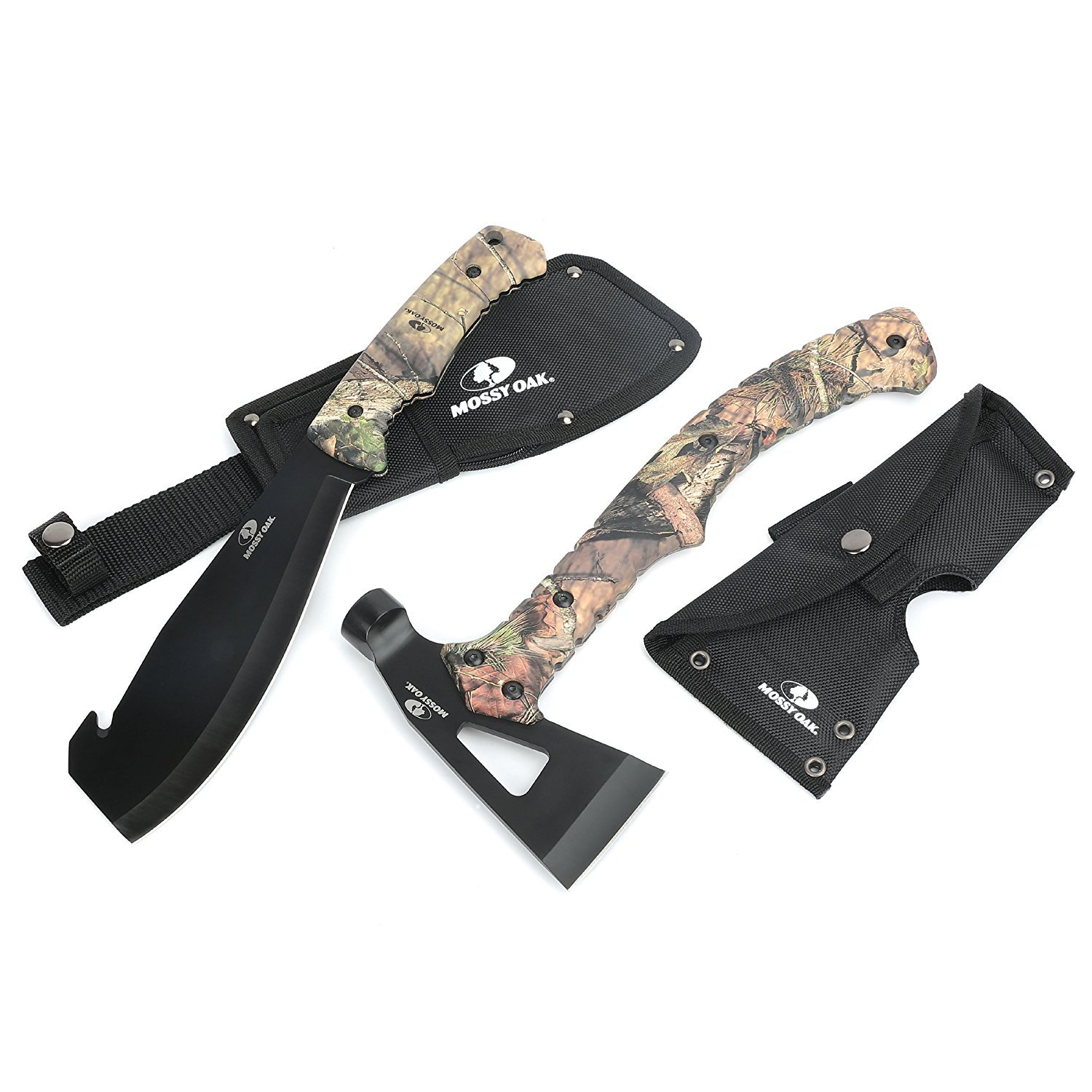 Mossy Oak 2-Piece Outdoor Camping Survival Hunting Axe and Machete Set Camo Handle