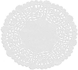 White Round Paper Lace Doilies (Pack of 100) by The Baker Celebrations; Made in Canada (4-inch)