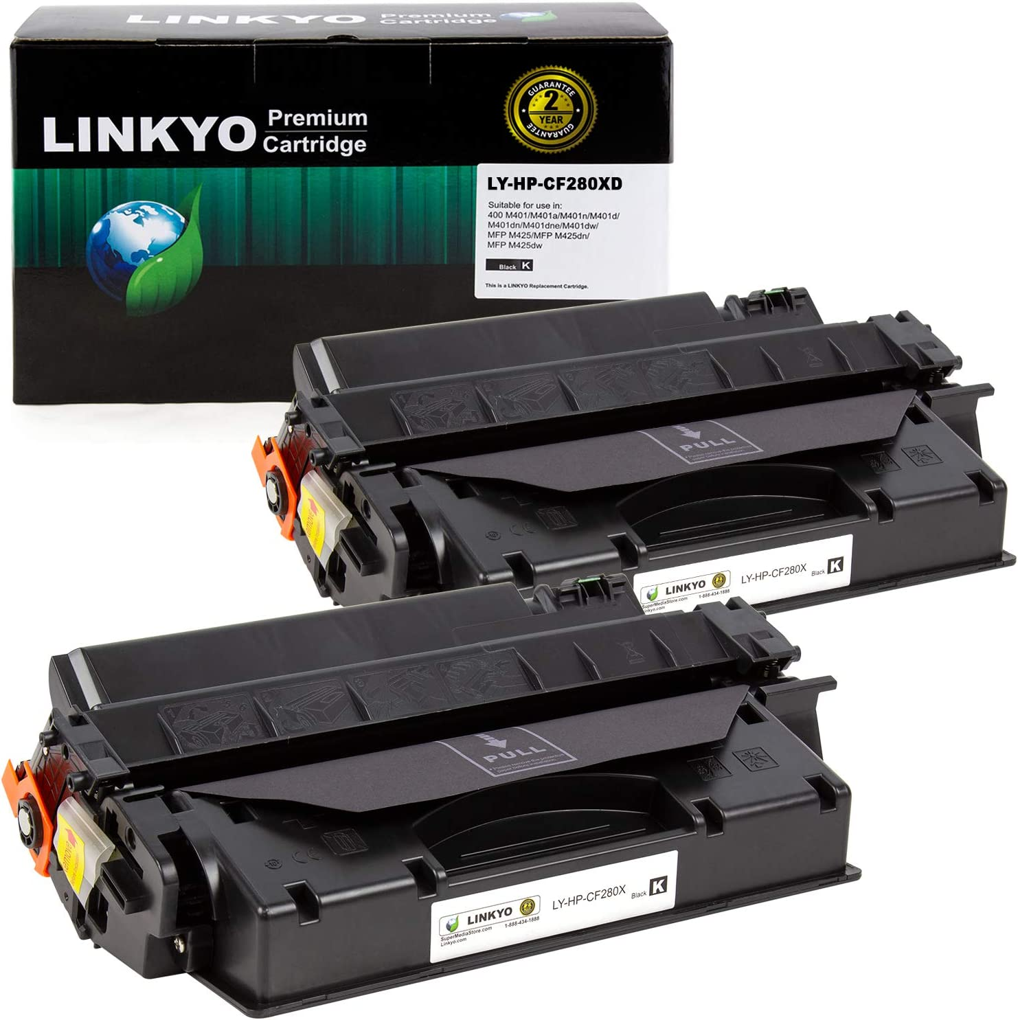 LINKYO Compatible Toner Cartridge Replacement for HP 80X CF280X (Black, High Yield, 2-Pack)