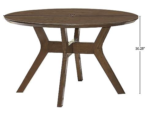 Homelegance Edam 52 Round Dining Table, Oak
