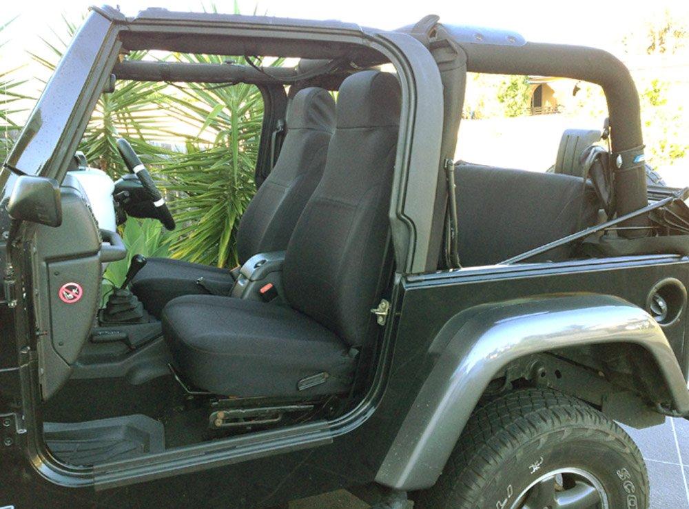 GEARFLAG Neoprene Seat Cover Custom fits Jeep Wrangler TJ 2003-06 Full Set (Front + Rear Set) (Black fs) by GEARFLAG
