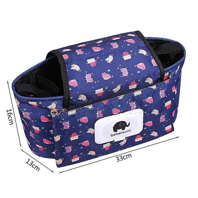 Cochecito Organizador con portavasos - animal linda Toallitas Dispensador - cochecito ligero Bolsa - Mini bolsa de pañales - Cochecito Accesorios: ...