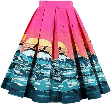 Stunning Blue Floral Stretch Skater Full Skirt Dress