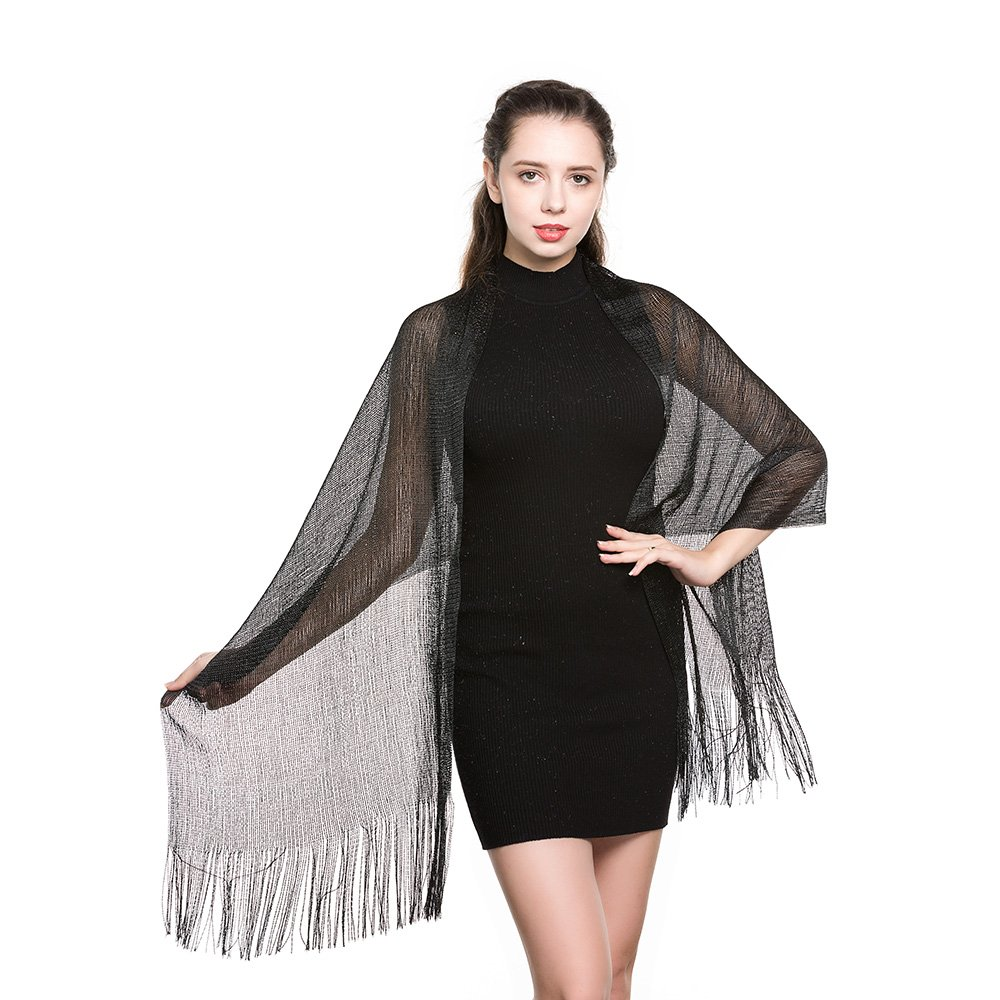 World of Shawls Scarf Wrap for Evening Dresses - Sheer Bridal Womens Scarves for Prom, Wedding, Party (Black with Black Glitter): Amazon.co.uk: Clothing