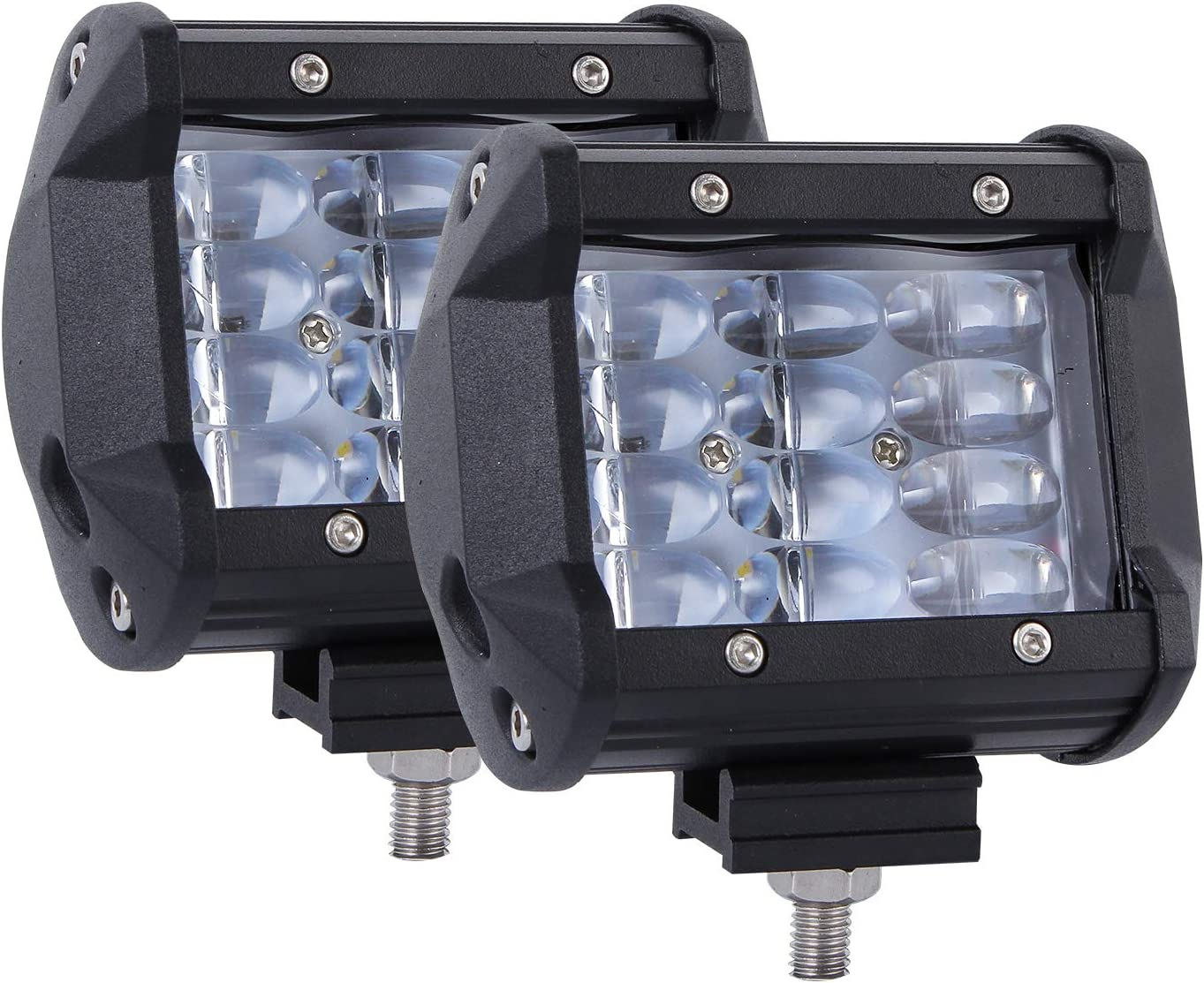 Auxbeam 3 Inch LED Light Bar 2Pcs 15w LED Pods with RGB Halo Ring Led Driving Lights Fog Lights for Off Road Jeep Trucks