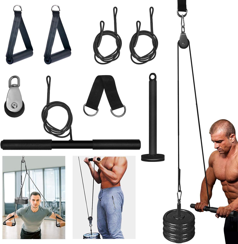 Polea y Cable 2 en 1 para Gimnasios Caseros, Equipo de Entrenamiento DIY con Cuerda de Tríceps para Jaulas de Energía o Levantamiento, Máquina ...