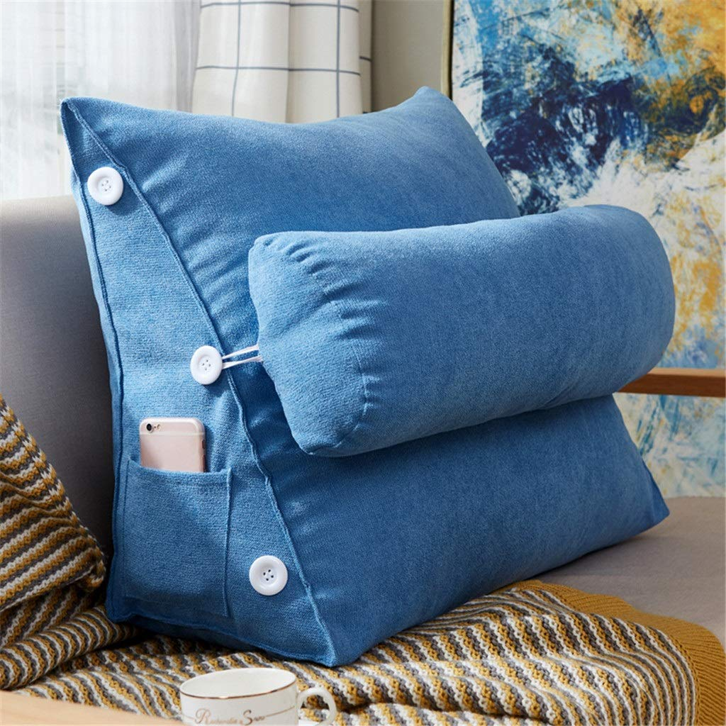Lil Band Head Pillow Triangle Cushion, Sofa Office Bay Window Lumbar Pillow/Lumbar Support Waist/Pillow (can Be Adjusted in Three Steps) (Color : Blue) by LILISHANGPU (Image #2)