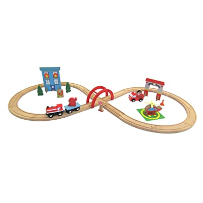 KIDS PREFERRED Ryan's World 35 Piece Fire Rescue Figure 8 Wooden Toy Train Set: Toys & Games