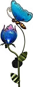 TERESA'S COLLECTIONS 42 inch Metal Butterfly and Flower Garden Solar Lights Decor, Decorative Butterfly and Tulip Solar Lights Stake with Blue Glass Body for Outdoor Patio Yard Decorations