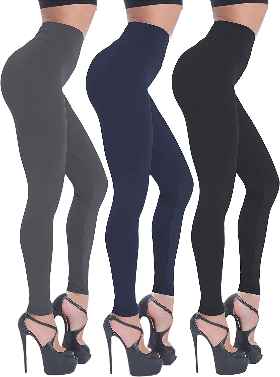 BEELU FASHION BOUTIQUE Leggings for Women High Waisted Yoga Workout Pants Tummy Control Slim(One Size, 3 Pack (Black+Navy+Charcoal))