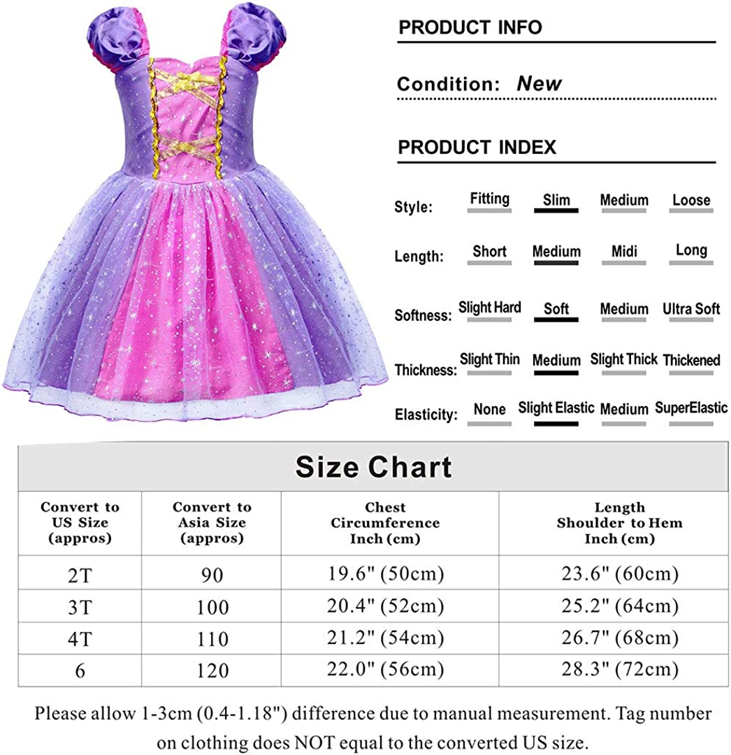 AmzBarley Princess Rapunzel Dress for Girls Kids Dressing up Costume Child Tulle Tutu Fancy Party Outfit Halloween Cosplay Birthday Holiday Dresses