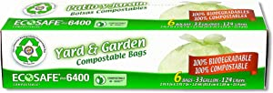 EcoSafe GKL042657-1 33-Gallon City of Houston Biodegradable Yard and Garden Bags, 6-Count